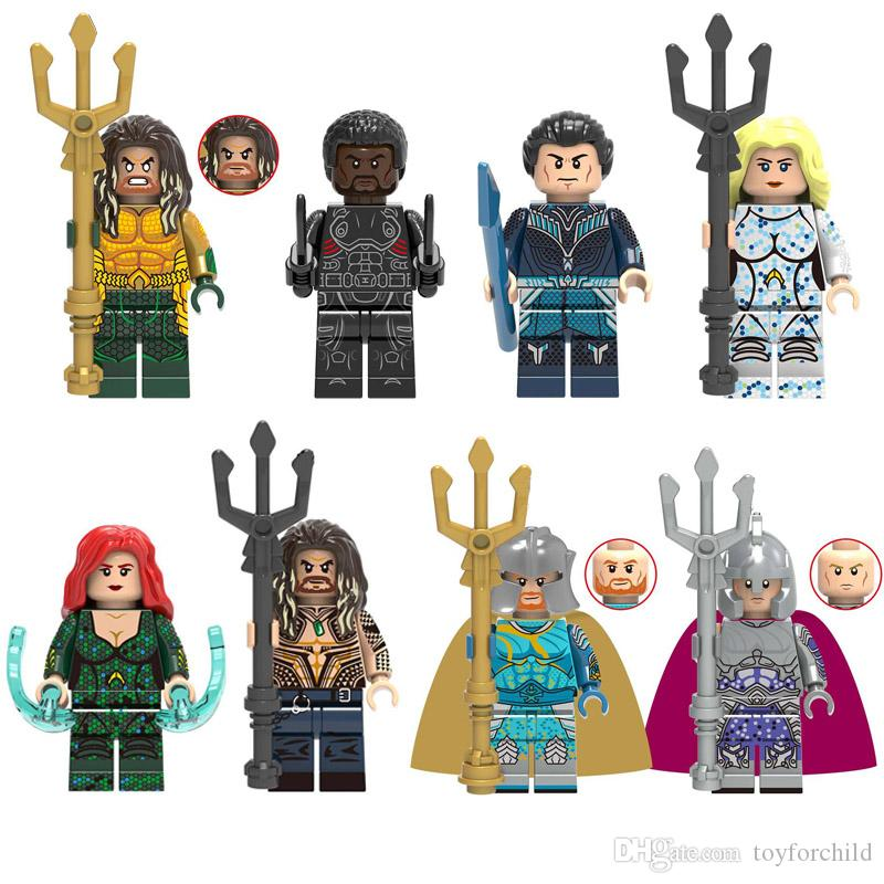 Avengers Super Hero Aquaman Black Manta Vulko Atlanna Mera Arthur Curry Nereus Orm Mini Toy Figure Building Block Toy For Kid Boy Girl