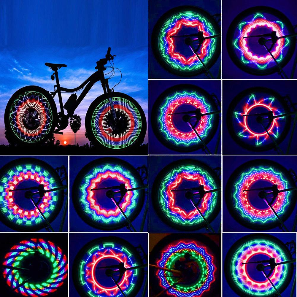 30 نمط دراجة ضوء دراجة عجلة ضوء عرض مزدوج فلاش 32 rgb الصمام ضوء دراجة تكلم مصباح ليلة ركوب الدراجات الإضاءة