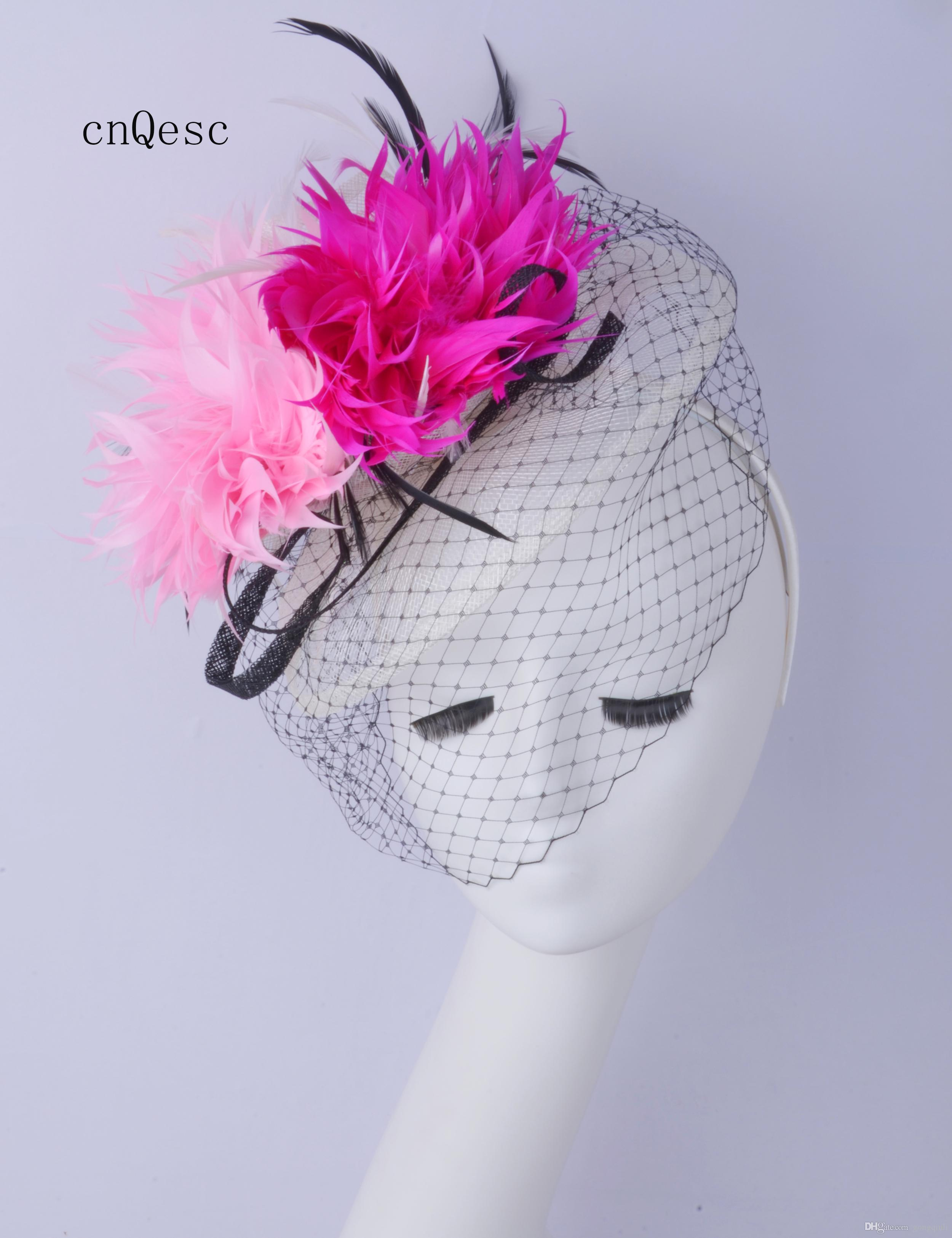 2019 Nuovo design! GRANDE cappello da donna formale avorio rosa Kentucky Derby gare di nozze doccia nuziale madre della sposa con fiore di piume