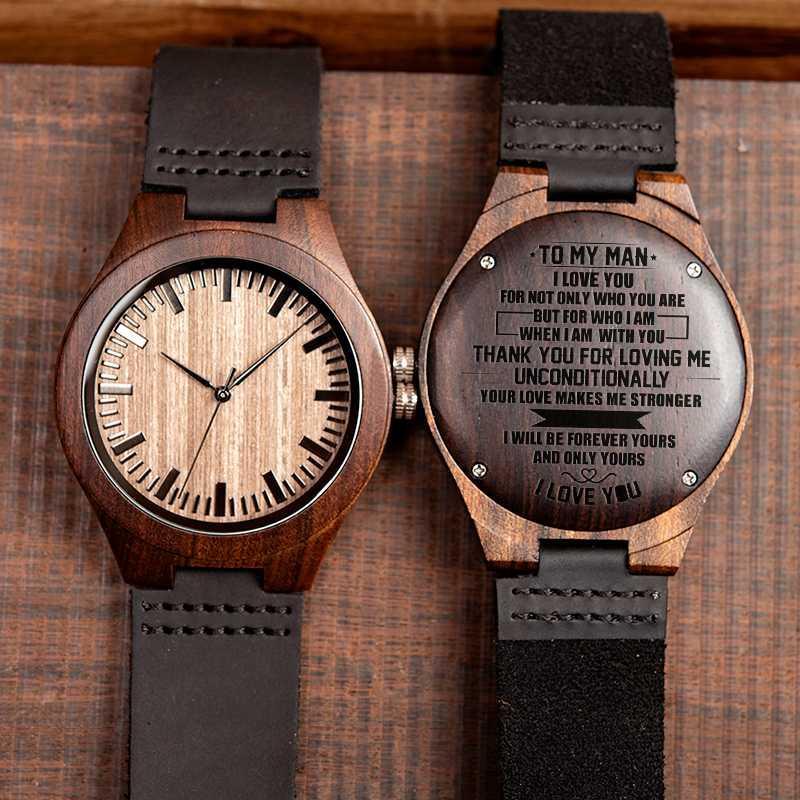 BOBO pássaro de madeira gravura personalizado Men Watch Madeira Quartz Relógio de pulso melhor presente para o Natal / graduação Anniversary / Wedding