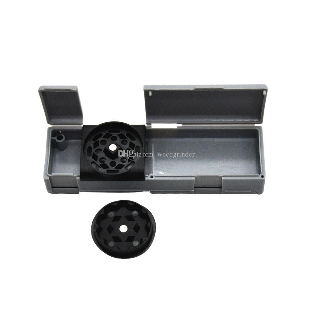 Nouvelle conception mini 30mm en plastique tabac moulin avec Pill box pas cher moulin avec boîte de stockage peut contenir du papier à rouler