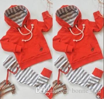 유아 아기 소년 의류 붉은 까마귀 줄무늬 바지 2 피스 유아 의상 캐주얼 아기 의류 긴 소매 아이 옷 0--24M 설정