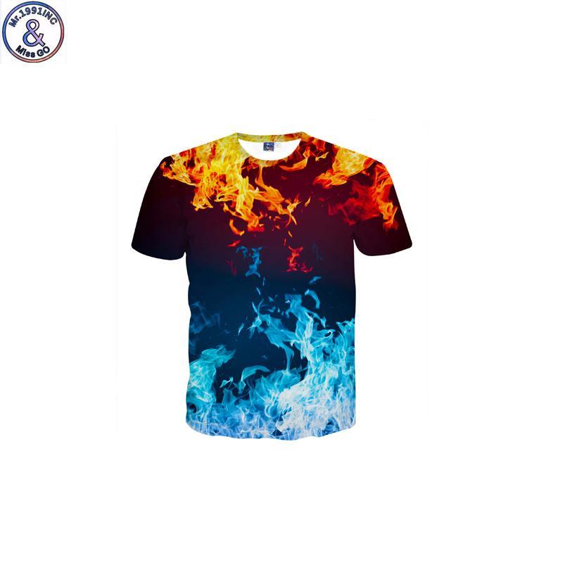Mr.1991 marca divertente design blu fiamma 3d stampato t-shirt per ragazzo new fashion manica corta bambini t shirt adolescente top dk13 y19051003