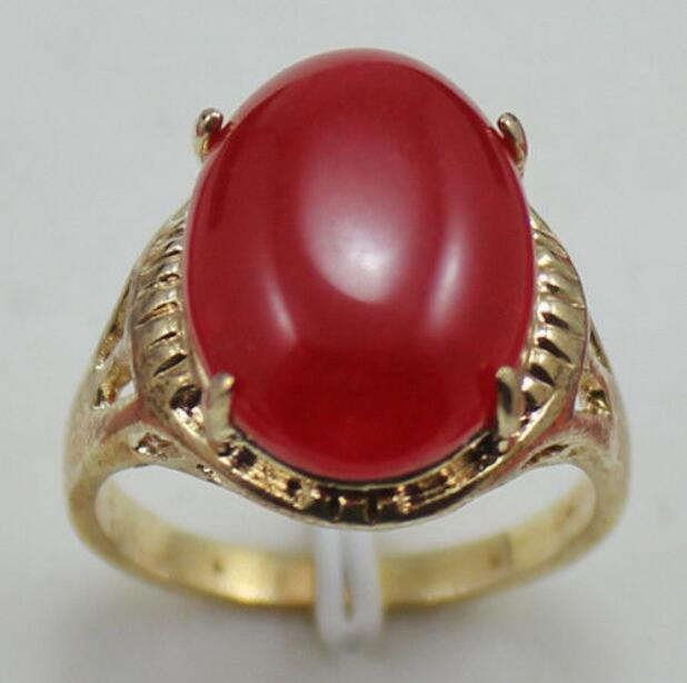 Jewelryr Jade Ring fine Elliptical red jades 18KGP Ring Size:7.8.9 Free Shipping