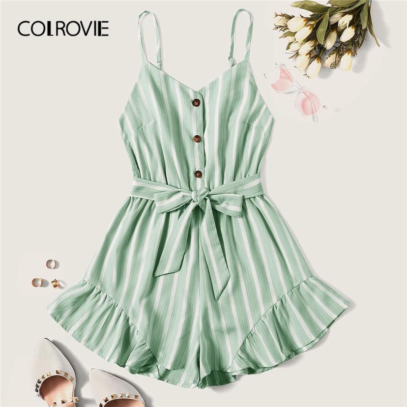 Colrovie Plus Size Green Striped Ruffle Hem Spaghetti Strap Playsuits Women Summer Sleeveless Button Beach Wear Belted Romper SH190720