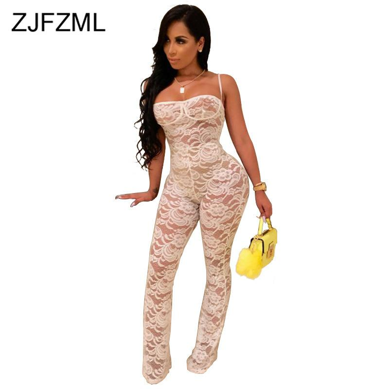 Sexy Club Straped Lace Rompers Womens Jumpsuit Sleeveless Backless Belle Bottom Overalls Clubwear One Piece Plus Size Bodysuit