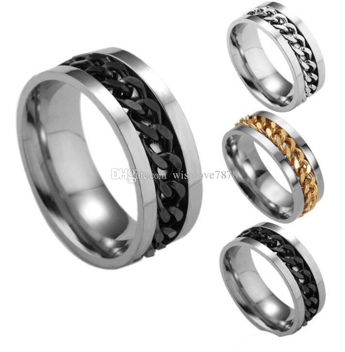 Yeni High-end butik erkek paslanmaz çelik altın siyah gümüş zincir dönebilen yüzük parmağı gelgit kişilik 5 renkler