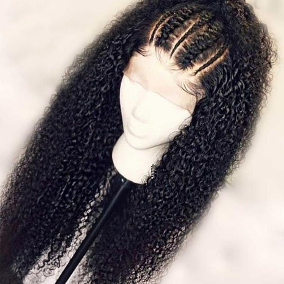 360 frontal rizado encaje pelucas de cabello humano 130% de densidad profunda brasileña peluca con el pelo del bebé de Negro Mujeres de 18 pulgadas, color natural
