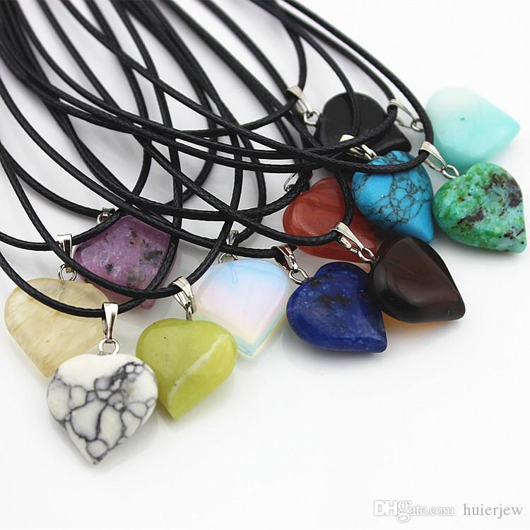 Colar de pedra pingentes corda de couro Declaração colares Turquoise Rose Quartz Lua Coração de Pedra Natural