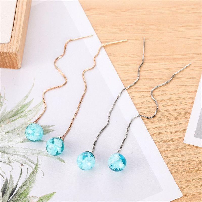 DoreenBeads femmes oreille fil Enfile Boucle d'oreille en or / argent Couleur Blue Ball Bijoux Nuage Boucles d'oreilles 95mm long, 1pair