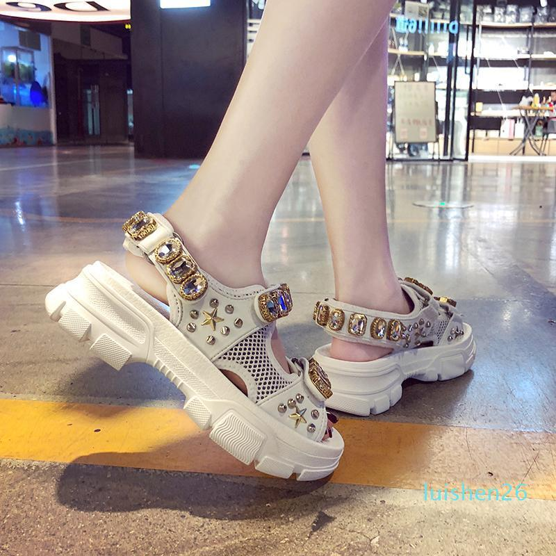 Hollow Out Open-toed Women Sandals Fashion Diamond Beads Women Outdoor Wedge Shoes Women Waterproof Platform Summer Shoes l26