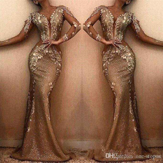 2019 Sequins Prom Dress Mermaid Formal Party Gown Long Sleeve Black Girl Evening Dresses Sexy Flowers Custom Made Plus Size Dresses