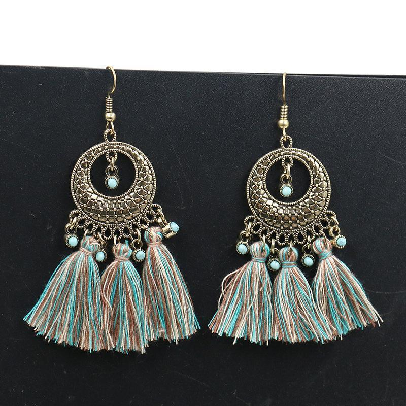 National Style Fan Shaped Tassel Earrings Popular Fringe Eardrop Dangles Bohemia Vacation Women Fashion Exaggeration Earrings Jewelry Gifts