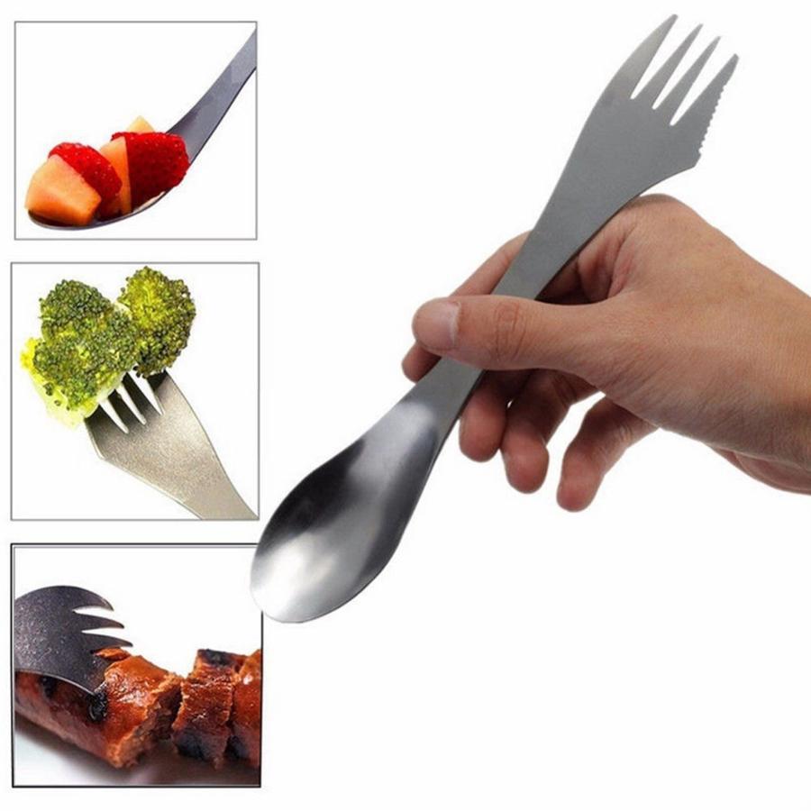 Acampada picnic Tenedor 3 en 1 Titanio Tenedor Cuchara ultra ligera de acero inoxidable de Spork Cubiertos Utensilios de cocina Alimentación cucharas OOA7541