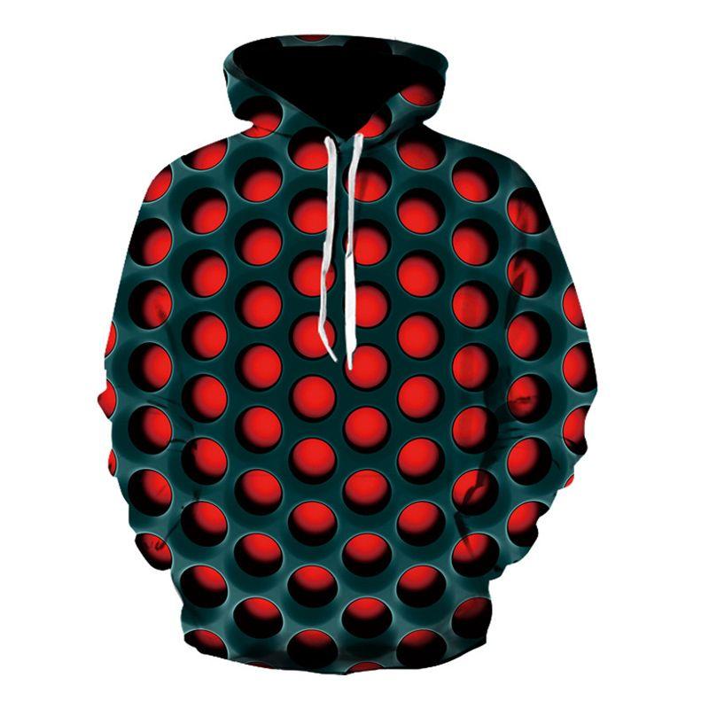 Sweats à capuche Homme Sweatshirts Honeycomb Men Imprimé Hommes 3D Sweat-shirt Rouge Polka Automne et hiver Fit Fit Streetwear Loisirs Sweat à capuche Homme 2021 Cabot
