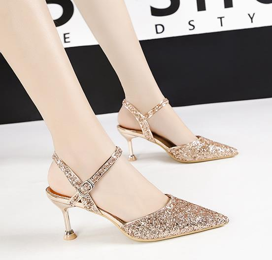 Office lady banquet dress shoes 6.5cm high heels pointed toe women pumps sexy sequins hollow ankle strap slingback 9222-2