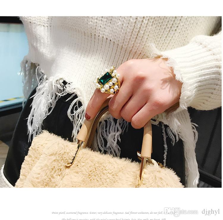 Kadınlar Simüle İnci Zarif Dainty Klasik Kişilik Parmak Yüzük Takı için Trendy Yeşil elmas Düğün Halkalar