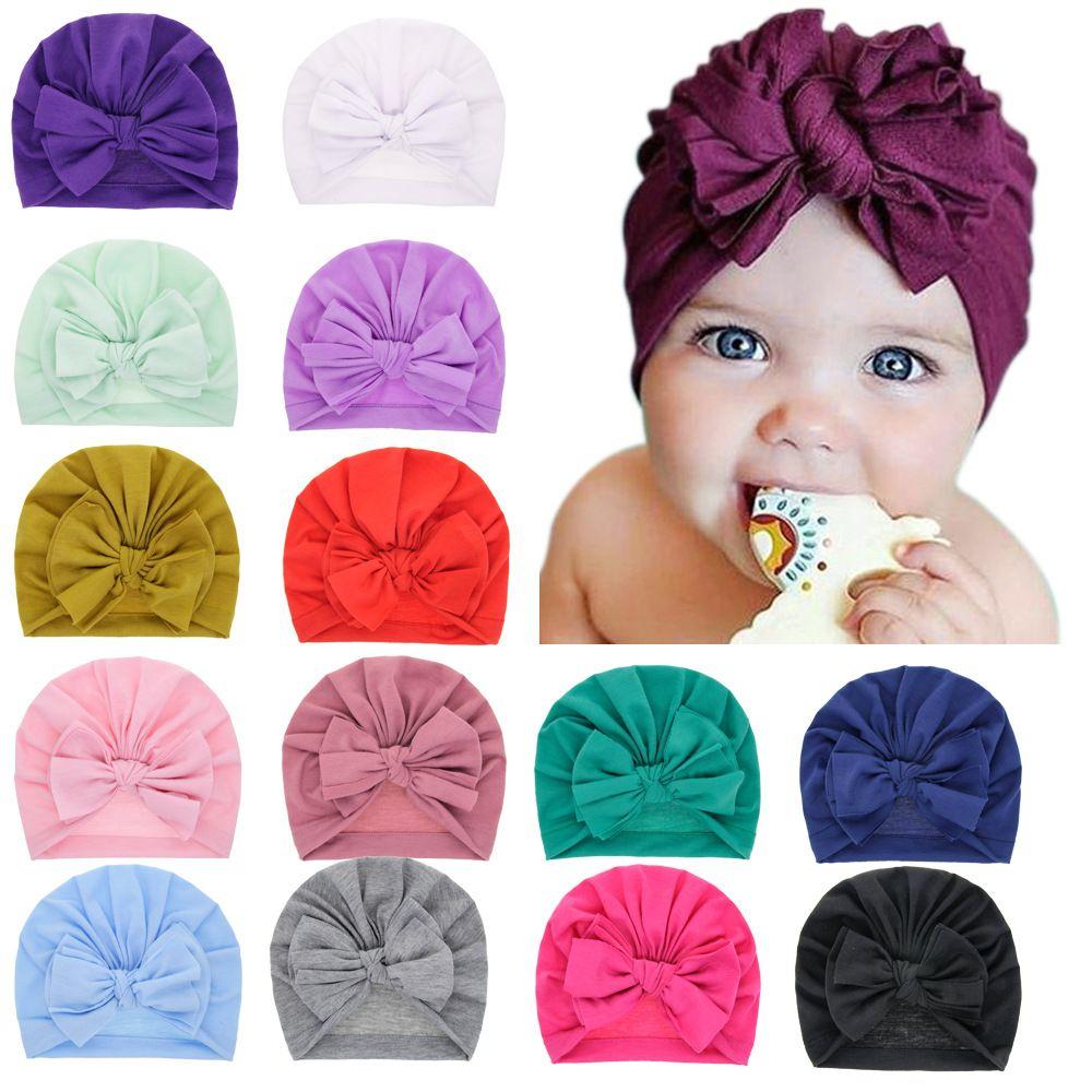15422 New Infant Baby Cotton Hat Bowknots Turban Headwrap Hats Girls Children Hats Kids Cap Beanies 15 Colors
