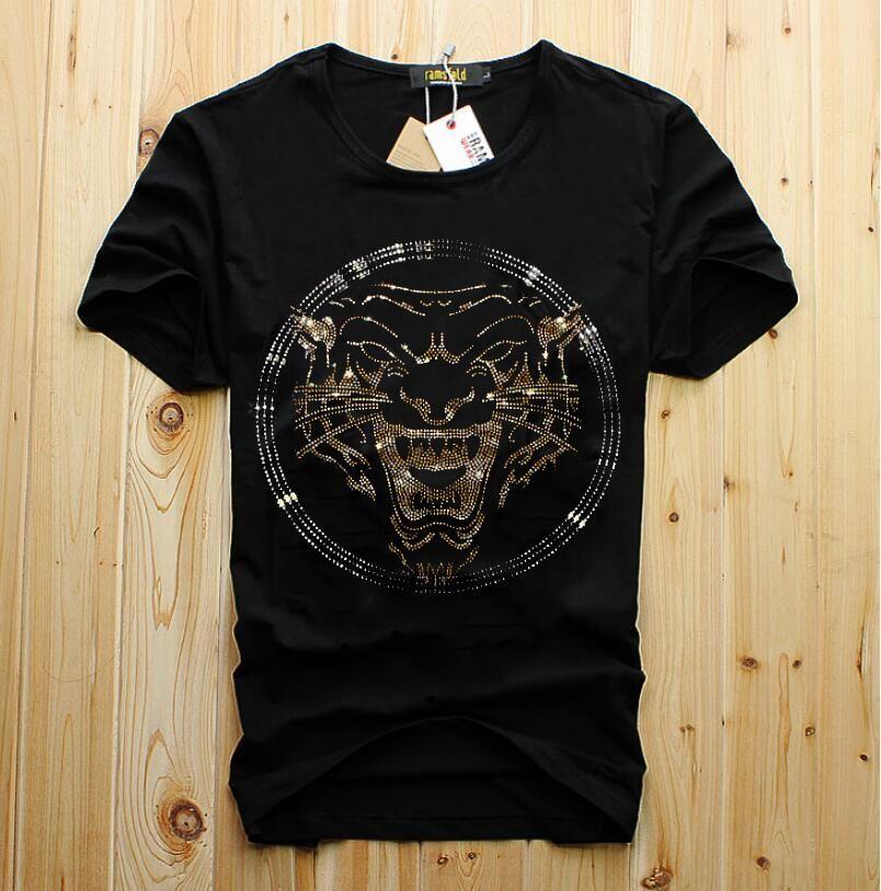 Оптовая продажа мужчины роскошный Алмаз дизайн футболки мода футболки мужчины смешные футболки бренд хлопчатобумажные топы и тройники