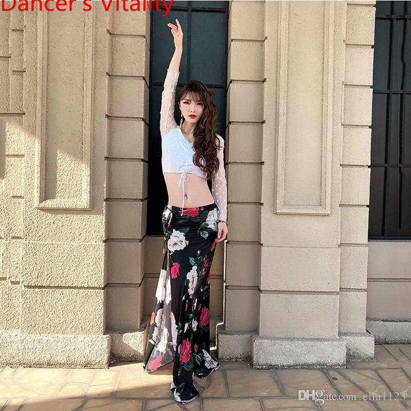 New Belly Dance Costume Perspective Sleeves Top Sexy Split Skirt Indian Oriental Dance Women Lady Girls Belly Lace Splicing Clothes Garments