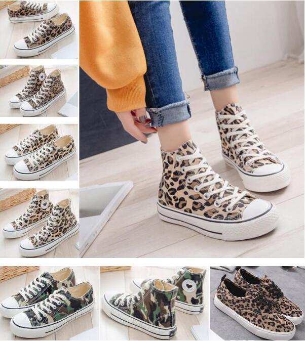 Leopardo boate flat feminino sapatos de lona de impressão clássico estudante sapatos casuais 7 cores pode escolher