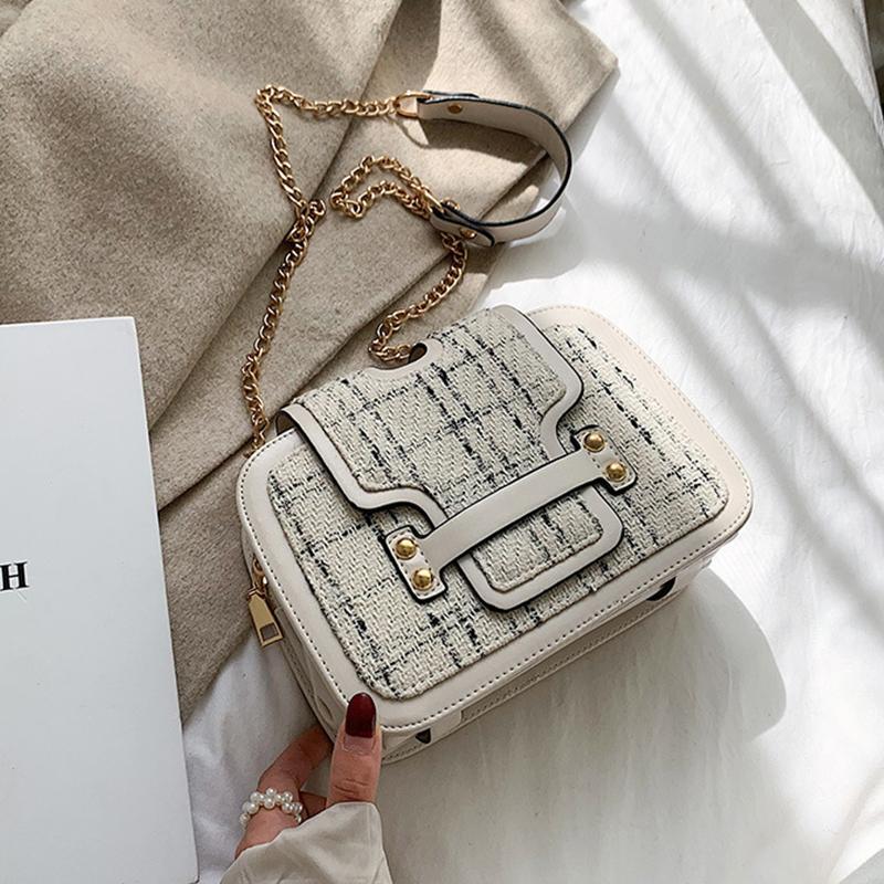 Мода решетки женские сумки на ремне шикарные цепи Crossbody сумки для женщин большой емкости Pu крышка кошельки дамы сумка