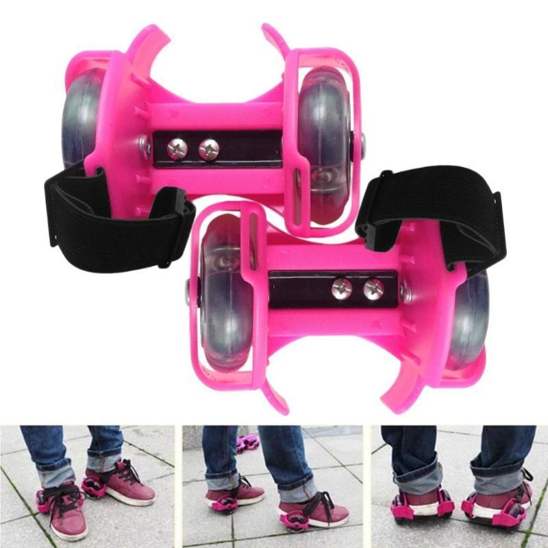 1PAIR ضوء وامض الرول الصغيرة الزوبعة بكرة قابل للتعديل ببساطة الرول أحذية التزلج مع عجلات مزدوجة الزوبعة بكرة الساخنة