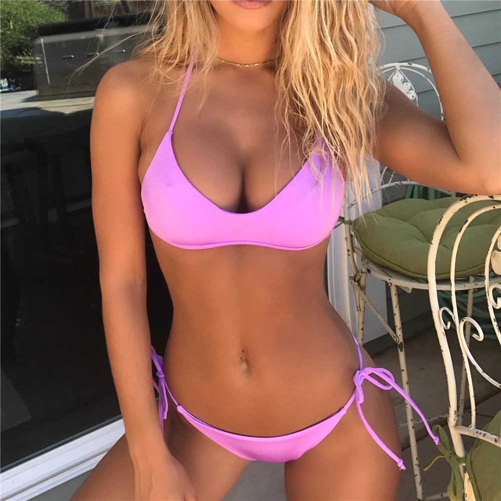 Seksi Bikini Çiçek İki Adet Mayo Pembe Mayo Kadınlar Mayo kızlar Neon Sarı Bikini Set Şeker Renk
