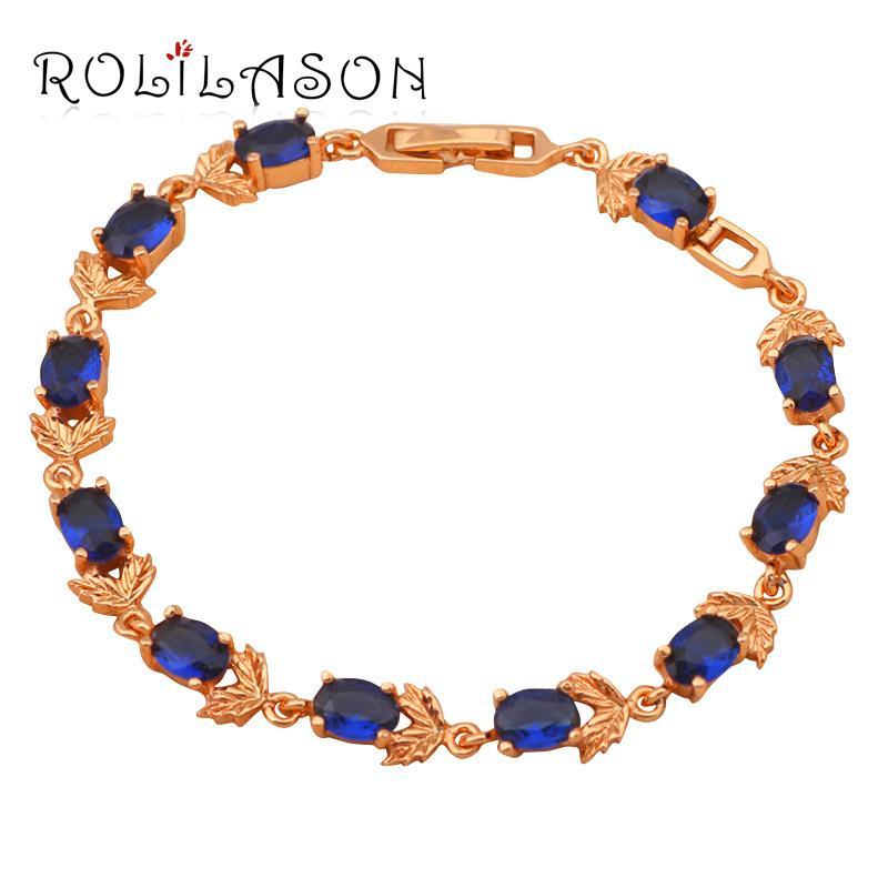 ROLILASON romantisches Kette golden Kristallzircon blau Design Marine-Rosenmuster Armband Gesundheit Hochzeit Element Modeschmuck TB663