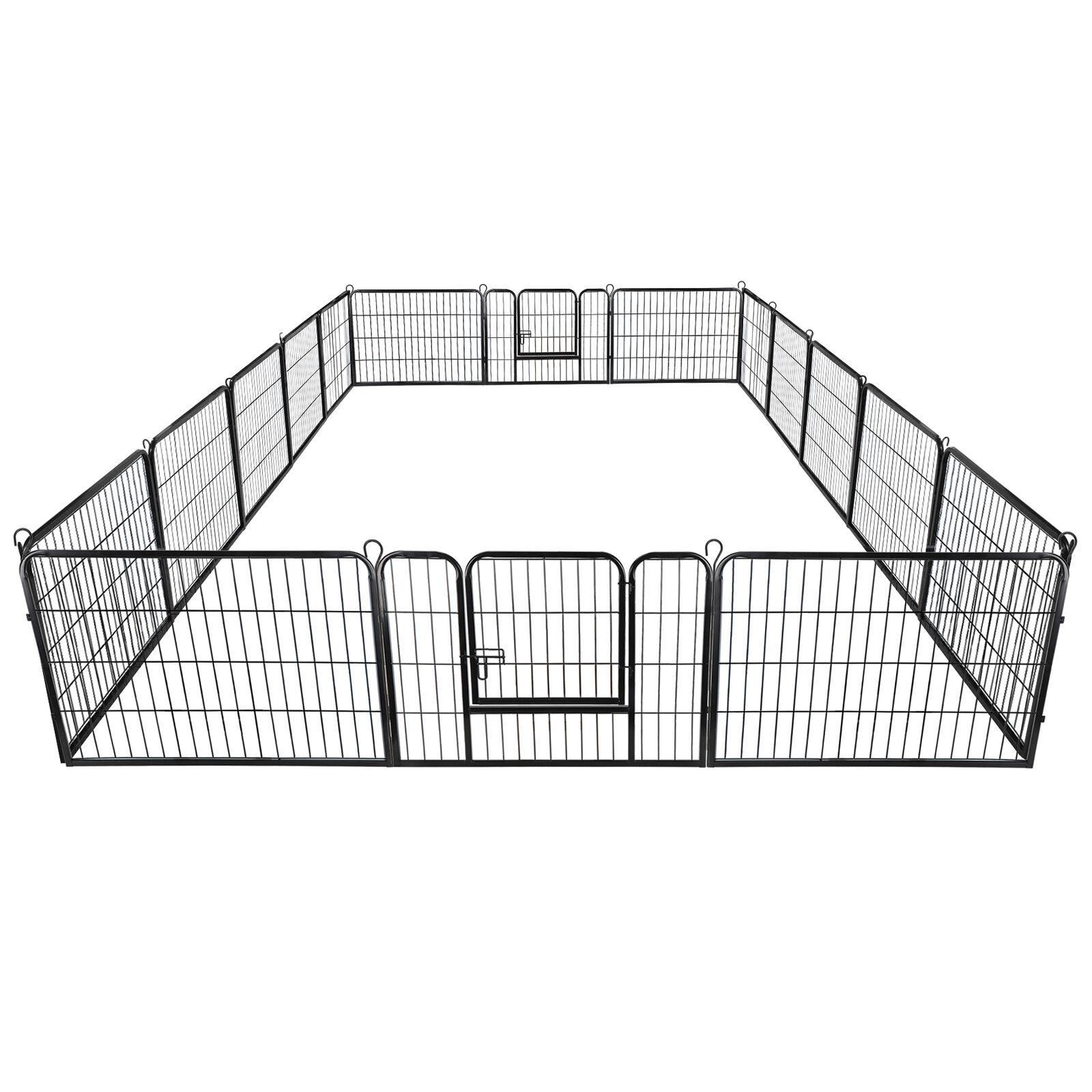 """24"""" Dog Playpen Crate 16 Panel Fence Pet Play Pen Exercise Puppy Kennel Cage"""
