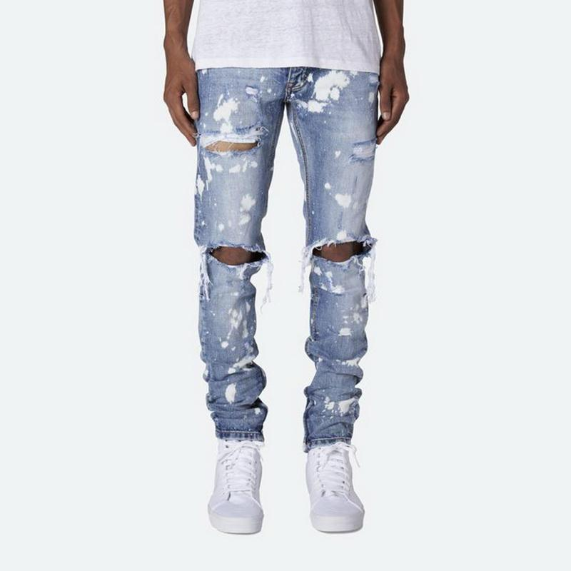 Enge Jeans Herren Jeanshosen Street Calca Masculina zerrissene Jeans für Männer Ripped Zerstört Slim Fit Loch Hose männlich