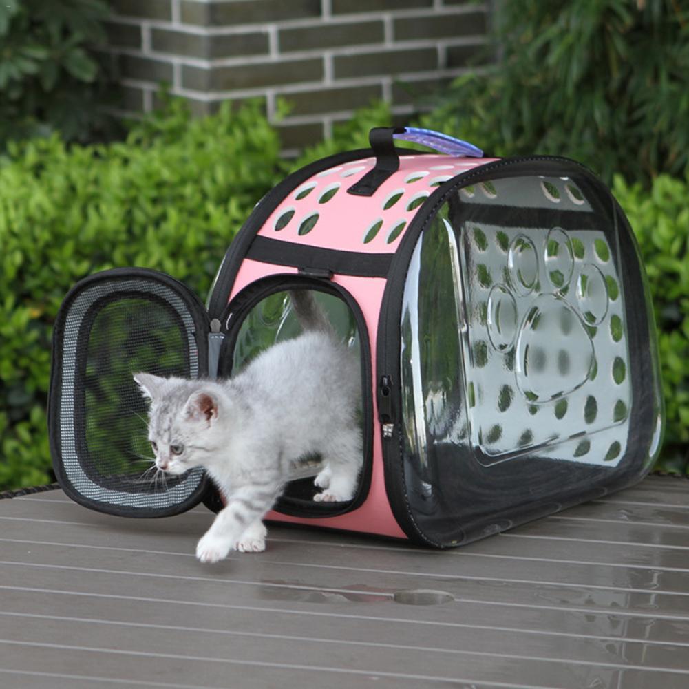 عالية الجودة الصغيرة الشفافة الحيوانات الأليفة الأزياء حقيبة صغيرة الحيوانات الأليفة في الهواء الطلق حقيبة القطط الجراء جرو القطط الكلاب اللوازم كاري