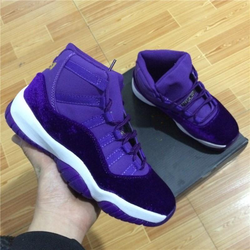 con caja de alta calidad Nueva 11 zapatos de terciopelo púrpura heredera baloncesto de los hombres y mujeres en línea 11S XI Calzado deportivo auténticos