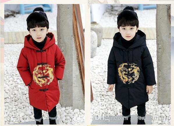 veste de coton oys nouvelle veste de coton longue veste bébé manteau d'hiver pour les enfants pour les enfants jeu de manteau d'hiver de style chinois