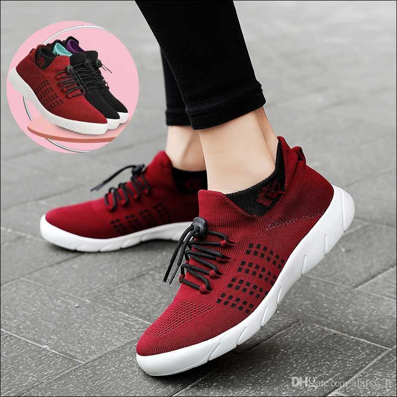 2020 Мода Mesh кроссовки Женская обувь Женщины Мягкие донные Удобные легкие ботинки Плюс Размер 42 женщина вскользь плоской обуви # 3