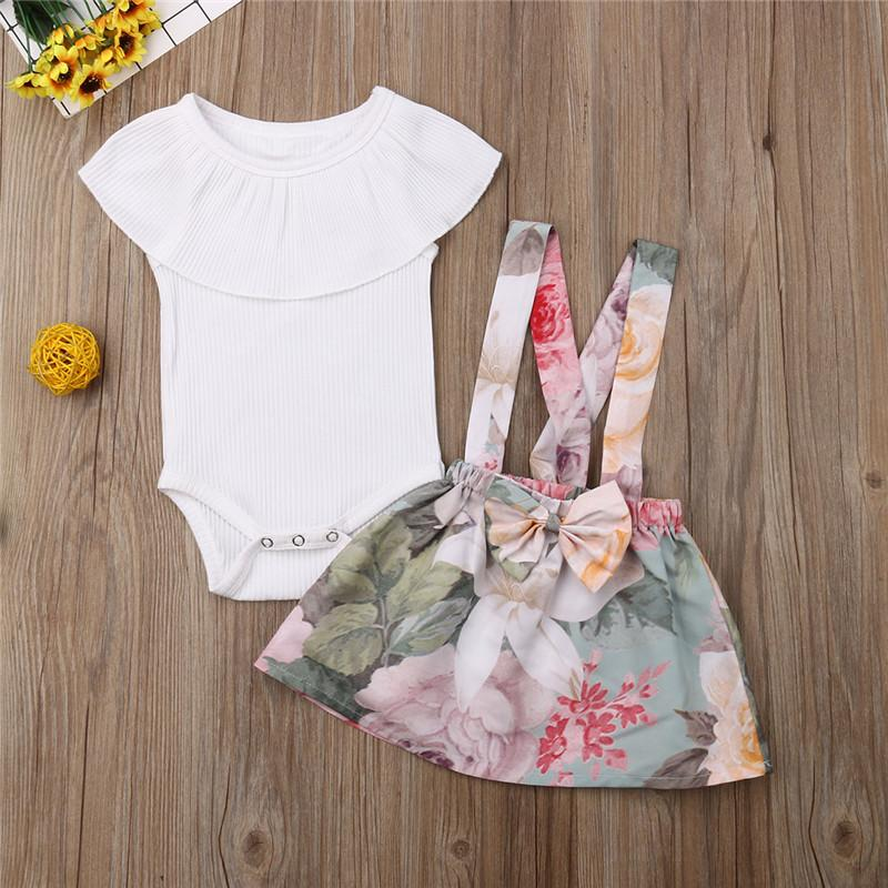 0-3Y Newborn Infant Kid Baby Girl Clothes Summer Ruffle Sleeveless Romper Tops Suspender Bib Floral Short Skirt Outfits 2Pcs Set