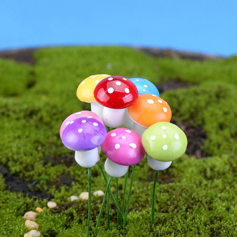 اصطناعية ملونة صغيرة الفطر الراتنج الحرف تيراريوم التماثيل الجنية حديقة حزب المنمنمات حديقة حلية زينة