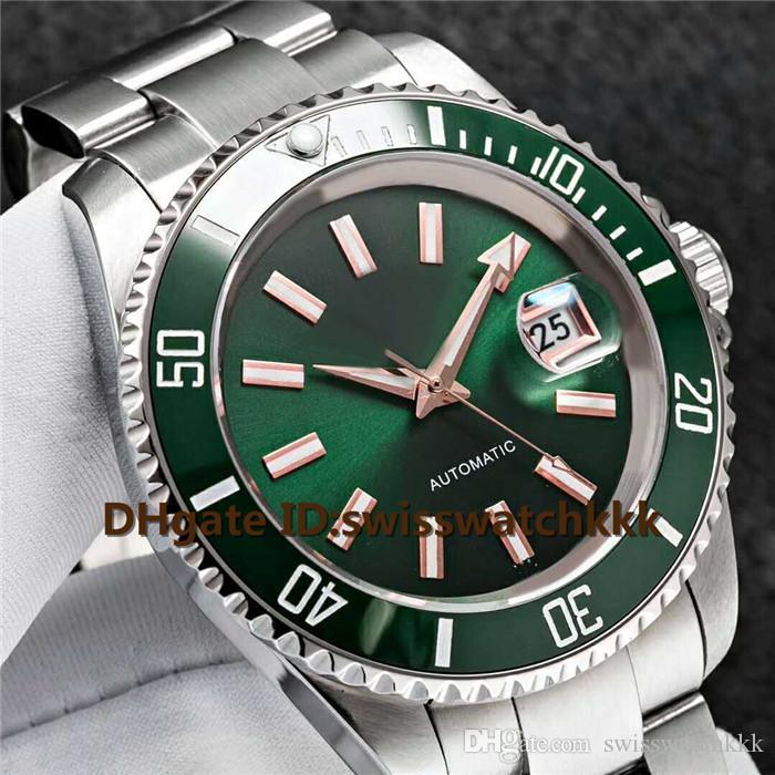 Venda quente Relógios De Pulso Suíço 8215 Automático Data de Exibição Scratchproof Safira Cristal Verde Cerâmica Bezel 316L Aço Luminoso Mens Watch