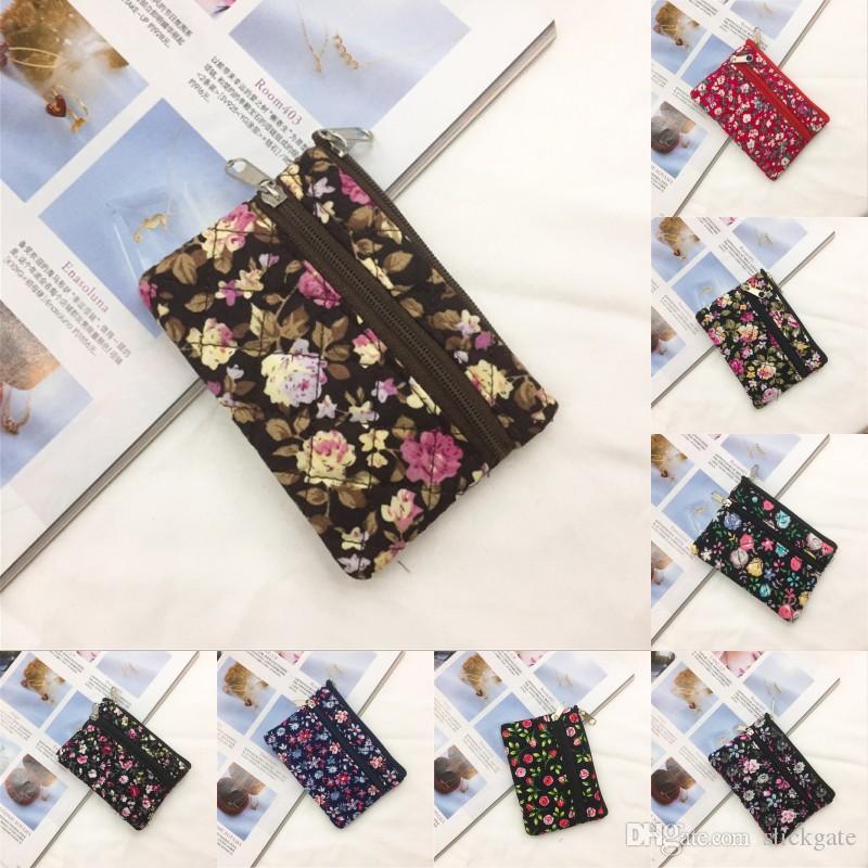 2019 Nouveau Femmes Mode Portable Porte-monnaie petit chiffon Porte-monnaie Motif Mini Fleur de Coton Portefeuilles Petits frais Carte sac fourre-tout 10 Styles M646A
