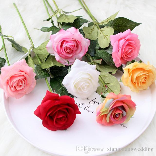 Venta caliente de la flor artificial de la flor de la humedad de la humedad de la sola flor de seda de la rosa de la humedad que boda el suministro de la casa de la fábrica de la fábrica de la fábrica de ventas