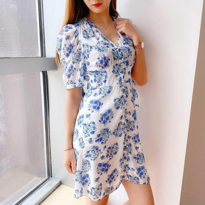 Abito Donna Primavera / Estate 2020 Nuovo abito con scollo a V monopetto stampato Mini