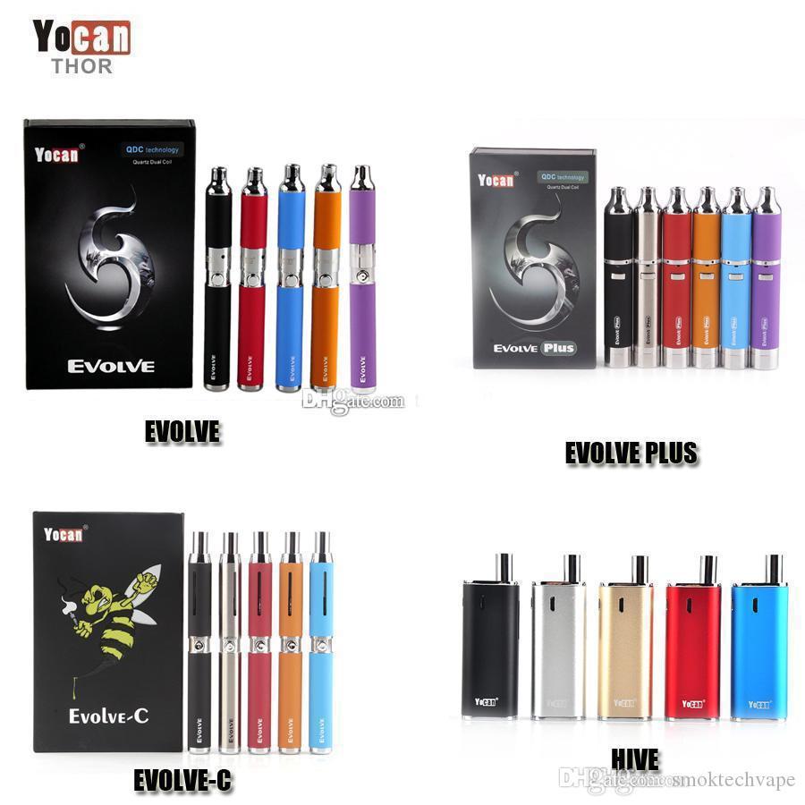 أصيلة Yocan Evolve-C Evolve-D Evolve Plus Hive 2.0 Starter Kit الشمع الجاف عشب القلم المرذاذ 650 / 1100mAh بطارية سميكة النفط / رذاذات الشمع