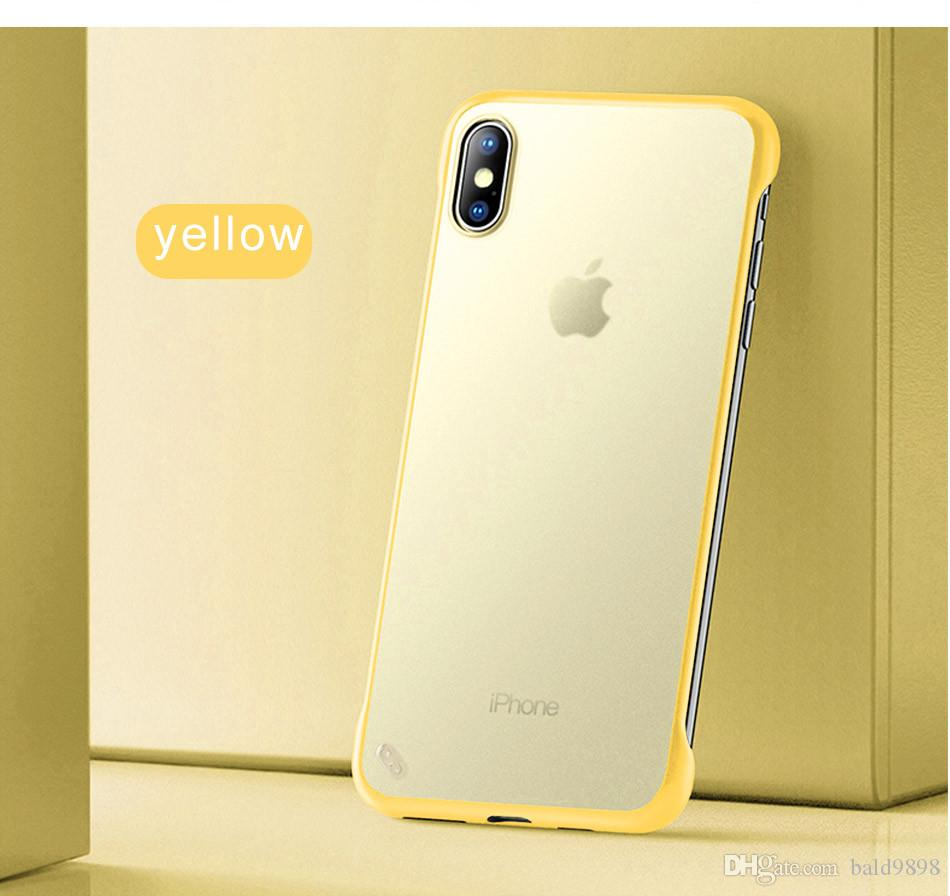 Frameless Transparent Matte Hard Phone Case For iPhone X 7 6 8 Plus Cover For iPhone XS Max XR With Finger Ring Cases