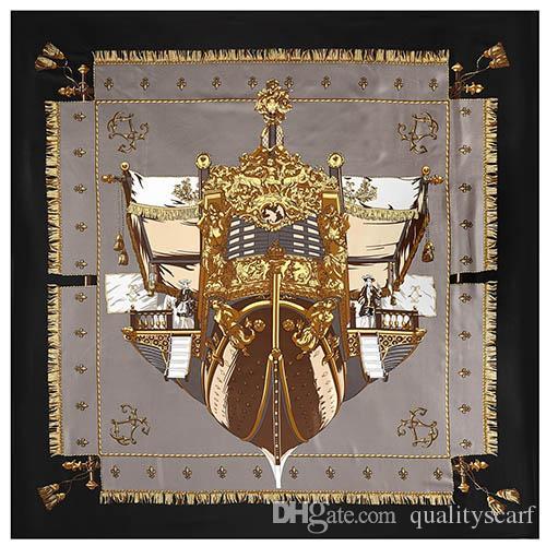 130 * 130 Écharpe à col en soie Femmes Square Square Bird Imprimer Echarpes Kerchief pour dames Echawarpe