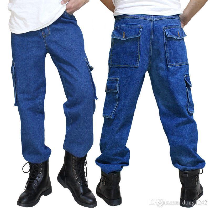 Compre Pantalones Vaqueros Sueltos Para Hombre Pantalones De Mezclilla Pantalones De Trabajo Cargo Pantalones Tacticos Bolsillos A 20 59 Del Dong1242 Es Dhgate Com