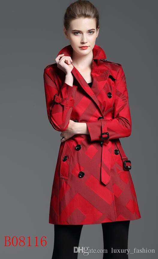 새로운! 여성 패션 영국 중년 봄 트렌치 코트 / 여성용 더블 브레스트 트렌치 고품질 브랜드 디자이너 S - XXL 3 색