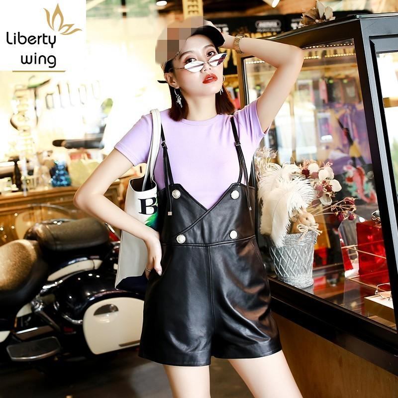 2020 New Brand Womens Short Playsuits Korean Style Slim Fit Jumpsuit High Quality Leather Wide Leg Suspender Pants Plus Size