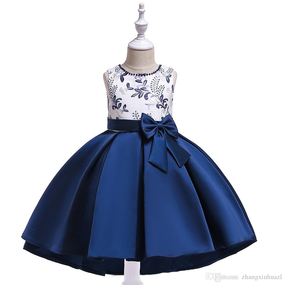 Kids Girls Flowers Party Dress Bowknot Wedding Bridesmaid Dresses Princess Ages