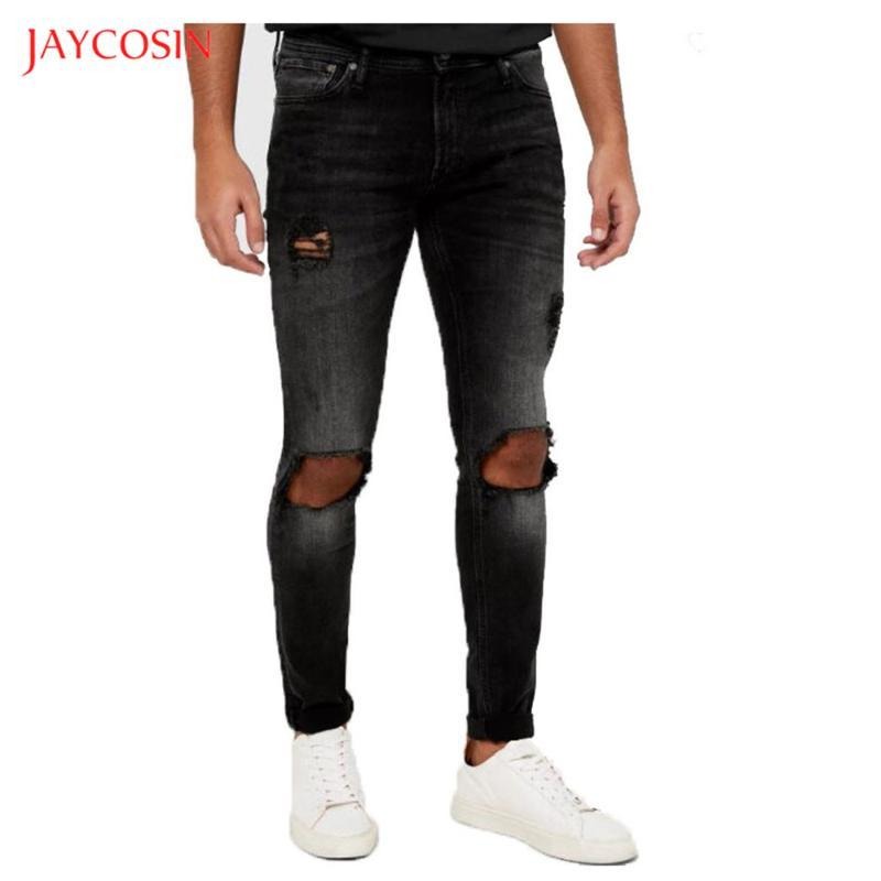 Jaycosin Men's Fashion Causal Jeans 2020 New Black Washed Old Pocket Zipper Slim Fit Pencil Jeans Pants Men Street Hole Trousers