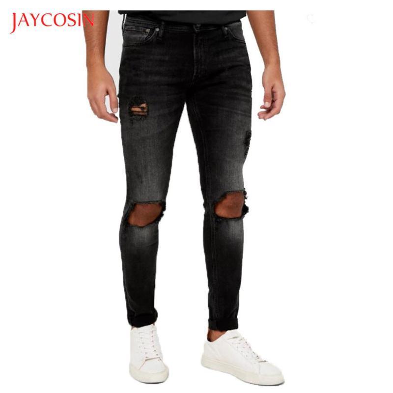 Jaycosin Mode pour hommes Jeans 2020 causales New Black Washed Old Pocket Zipper Slim Fit Crayon Jeans Pantalons homme Pantalons trou rue